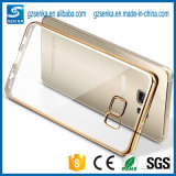 Transparent mou de Transparent Back Panel avec Electroplate Bumper Mobile TPU Cas Cover pour Samsung Galaxy S7