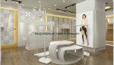 Модный белый деревянный стеллаж для выставки товаров магазина одежд повелительниц
