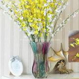 Florero alto del vidrio manchado para la flor, decoración casera