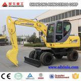Máquina escavadora quente da roda de China 6t 7t 8t 12t 14t mini, cubeta de 4X4wd 0.25cbm, máquinas escavadoras baratas do preço da melhor qualidade