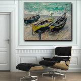 Домашняя картина маслом искусствоа украшения на картине маслом шлюпок Threefishing искусствоа стены холстины