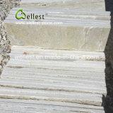 Impiallacciatura di pietra sottile della parete naturale bianca di spaccatura