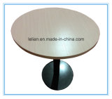 Mesa de centro de madera redonda con el cromo con base metálica (LL-CFT004)