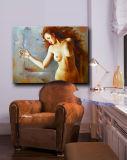 In het groot Naakte Vrouw op Canva voor het Met de hand gemaakte Naakte Vrouwelijke Olieverfschilderij van de Kunst van het Lichaam