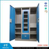河南Mingxiu 3つのドアの寝室の戸棚の鋼鉄ワードローブのキャビネット/安く収納キャビネット