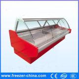 デリカテッセンの食糧のためのカーブのガラスタイプカウンタートップの表示冷却装置