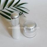 Botella de acrílico blanca del nuevo lujo/de la plata determinada de la loción para los cosméticos (PPC-NEW-109)