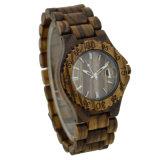 Relógio de madeira da zebra ambiental saudável