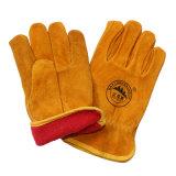 Водителя безопасности зимы перчатки кожаный работая с полной подкладкой