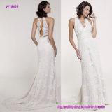 Halter profond de V-Collet d'arrivée neuve et en arrière robe de mariage ouverte