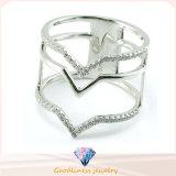Douane van de Ring van CZ van de Overeenkomst van de Mannen van de Vrouwen van het Kristal van de Halfedelsteen van de Diamant van de Ring van de Juwelen van de manier glanst de Gouden eenvoudig Wit CZ 925 de Echte Ring van de Parel van de Ring van de Zilveren bruiloft