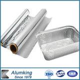 Recipiente da folha de alumínio com a tampa para o alimento da linha aérea