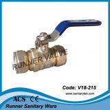 Qualitäts-beendet Messingkugelventil mit Komprimierung (V18-212)