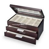 Caso del Brown dell'organizzatore dei monili del contenitore di vigilanza di alta qualità con 12 cuscini chiudibili a chiave (LW-JB0330)