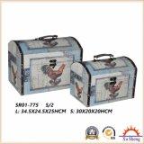 Caixa de armazenamento antiga de madeira arcada da mala de viagem e caixa de presente