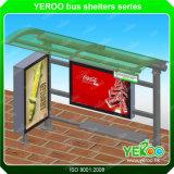City Outdoor Bus Stop Station Shelter avec panneau publicitaire