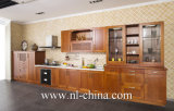 Projetar gabinetes de cozinha modernos da madeira contínua