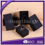 Коробка вахты картона Textured горячего украшенный лиственным орнаментом серебряного логоса твердая