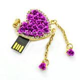 보석 기억 장치 지팡이 로즈 목걸이 USB 섬광 드라이브