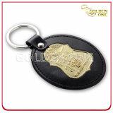 Gute Qualitätsnickelplattierung-Leder Keychain für Männer