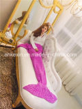 Crochet 70% Orlon e 30% Algodão Tecido Mermaid Tail Blanket