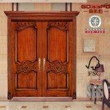 Porta de madeira contínua exterior do interior dobro antigo da noz (GSP1-019)