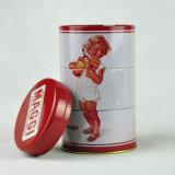 Caja de la lata redondo de encargo, té regalo caja de la lata, tres capas de la Ronda de té caja de la lata