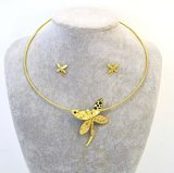 Pendiente Gargantilla de acero inoxidable de la moda de la mariposa de la joyería anillo de ajuste