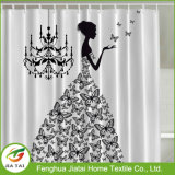 Gravuras Luxo poliéster preto e cortina de chuveiro Branco