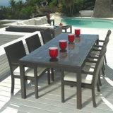 Giardino che pranza l'insieme esterno della Tabella del rattan delle presidenze del nero di vimini della mobilia del patio