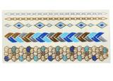 Etiqueta engomada temporal impermeable metálica de cadena azul del tatuaje del oro