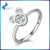 Sterling 925 Silver White Gold Mickey Mouse Cubic Zirconia Ring