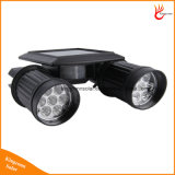 Lâmpada solar regulável de cabeça dupla com 14LEDs com sensor de movimento PIR