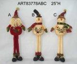 Empilhamento acima do presente da decoração da família do boneco de neve do Natal