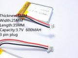 3ライン3.7V Thiumポリマー電池602535 600mAhビデオレコーダー縮小Mivue 388