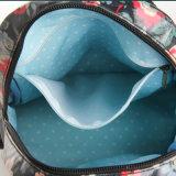 Schwarzes Retro Blumenwasserdichter PVC-Segeltuch-Rucksack-Tasche