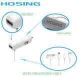 2 в 1 заряжателе автомобиля с 1 USB и в построенном кабеле данных для заряжателя мобильного телефона