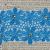 Tessuto africano in rilievo del merletto di cerimonia nuziale di colore blu della Turchia