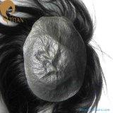 見えない結び目の極度の薄い皮のインドのRemyの毛のToupee