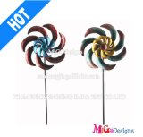 OEM Outdoor Decorative Flower Metal Windmill Garden Stake