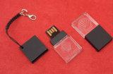 Pequeño mecanismo impulsor del USB del cristal, mecanismo impulsor plástico negro del flash del USB del cristal