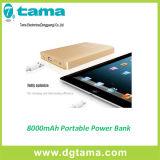batería de aluminio móvil portable de la potencia 8000mAh para el iPhone, iPad, iPod,