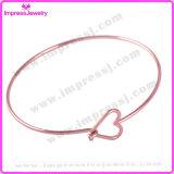 Bracelet de bracelet de fil d'or de Rose d'acier inoxydable avec le coeur