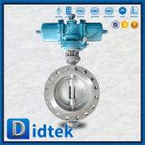Válvula de borboleta Offset triplicar-se pneumático do aço inoxidável 304 de Didtek