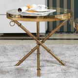 Stilvolles Rosen-Golddekorativer seitlicher Stahltisch mit den Querbeinen