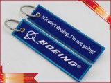 비행 자수 Keychain 승진 직물 Keychain의 앞에 삽입