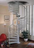 Escaleras espirales modernas con la pisada de Baluster&Wooden del acero inoxidable