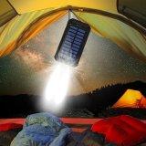 Solaraufladeeinheits-Energien-Bank 10000mAh verdoppeln USB-Sonnenkollektor-Aufladeeinheit mit hellem KompaßPortable des Carabineer-2LED für das Emergency im Freienkampieren Reisen-Orange