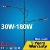 Luz de calle al aire libre doble del brazo 100W LED con poste