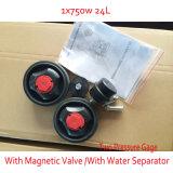 磁気弁の倍の圧力計オイル水分離器のOillessの空気圧縮機との750W 24L